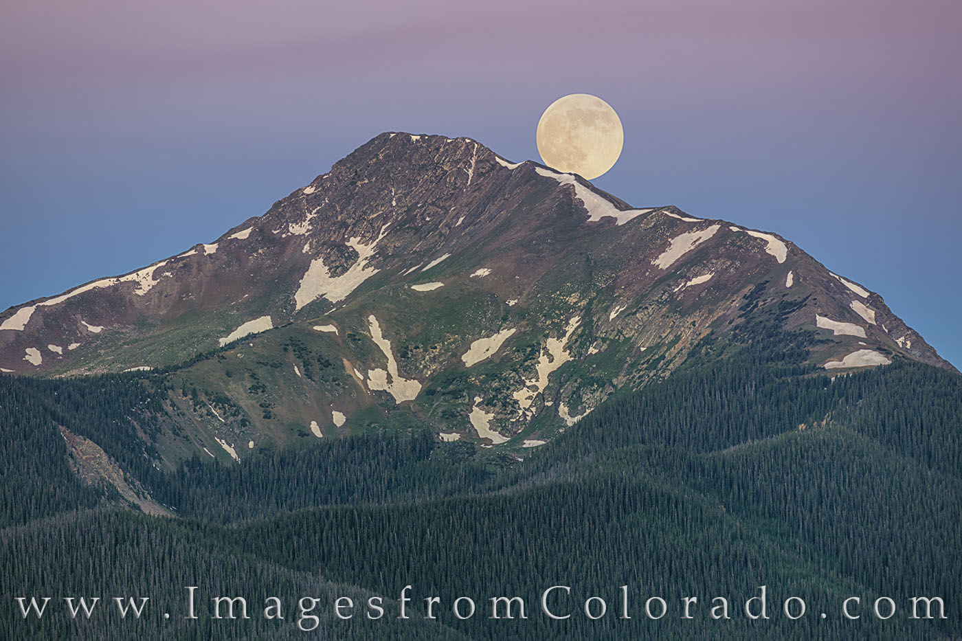 Moonset over Byers Peak in Fraser, Colorado