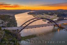 360 bridge, pennybacker bridge, colorado river, austin skyline, december, morning, sunrise, austin bridges, orange, cold