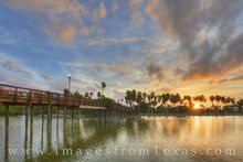 brownsville, south texas, border town, resaca, sunset, water, bridge, sky, evening, palm trees, coast