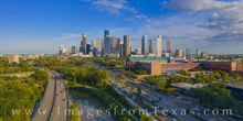 houston, downtown, skyline, aerial, drone