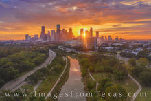 houston skyilne, aerial photography, sunrise, buffalo bayou, skyscrapers, houston aerial, aerial, morning, memorial parkway, houston texas