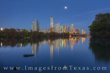 austin skyline, downtown austin, lou neff, full moon, ladybird lake, town lake, evening, austin