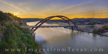 360 bridge, austin texas, sunrise, pennybacker, drone, aerial, morning, panorama, sunburst, colorado river, jenga, winter, cold, december