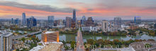 austin skyline, aerial photograph, austin, downtown, skyline, texas capitol, frost tower, austonian, jenga tower, congress avenue, ladybird lake, town lake