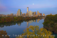 austin skyline, aerial photography, austin aerial, full moon, town lake, ladybird lake, highrises, downtown austin, fall color, autumn