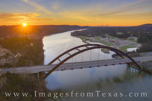 Aerial - Sunrise over Pennybacker Bridge 1216-1
