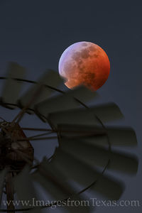 Blood Moon over a Windmill in the Hill Country 2