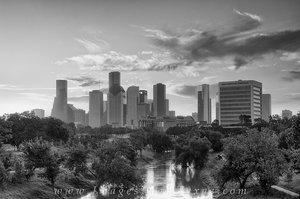 Buffalo Bayou Houston Black and White