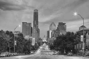Congress and Texas Capitol Black and White 1