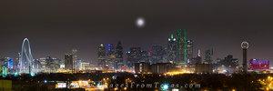 Dallas Skyline Panorama at Night 1