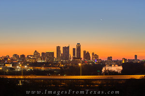 Downtown Austin at Sunrise and Moonrise