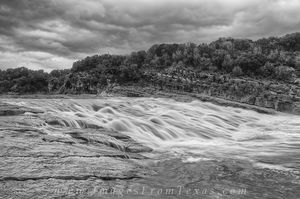 Flood at Pedernales Falls in Black and W