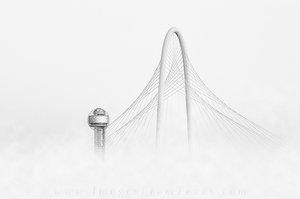 Fog in Dallas, Texas, in Black and White