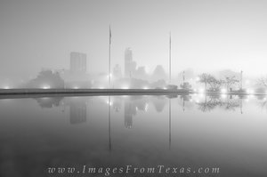 Foggy Austin Skyline Black and White 2