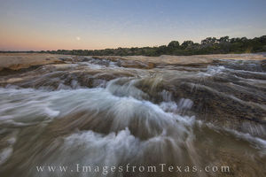 Hill Country Cascades at Moonset
