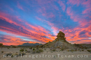 Hoodoos and the Chisos Mountains at Sunset 1