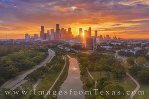 Aerial Houston Skyline Sunrise 1118-1