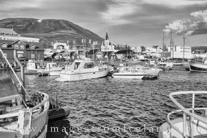 Husavik Harbor in Black and White 1