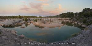 Pedernales Morning Moonset Panorama 1