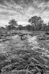 Pedernales River November Morning Black & White 1118-1