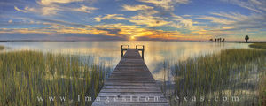 Sunset at Copano Bay Panorama, Rockport Texas 1