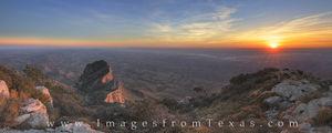 Sunset over Guadalupe Peak and El Capitan Panorama 1