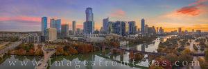 Texas Aerials - Austin Skyline November Sunrise Pano 3