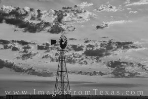 Windmill in West Texas in Black and Whitet 724-1