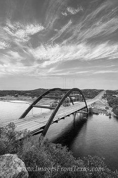 black and white,Texas,Austin,360 Bridge,image,print