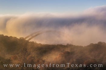 360 bridge,austin bridges,pennybacker bridge,austin skyline,austin fog,360 bridge in fog