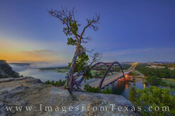 360 Bridge, pennybacker bridge, colorado river, sunrise, one tree, overlook, austin icon, prints for sale, morning, austin texas, fog