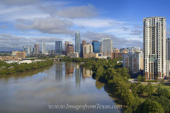 Aerial Over Lady Bird Lake and Downtown Austin 1