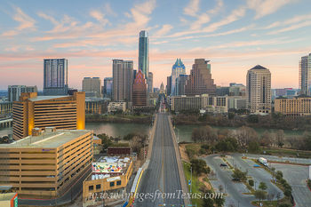 Aerial Sunrise over Downtown Austin 1