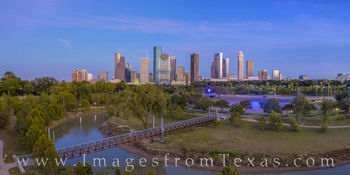 aerial, houston aerial, downtown houston, buffalo bayou, allen parkway, Tinsley Park, police memorial, panorama