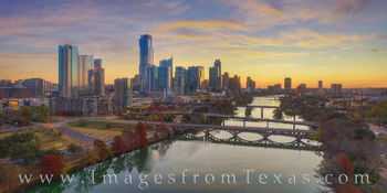 austin skyline, sunrise, ladybird lake, aerial, drone, austin, first street bridge, pfluger bridge, congress bridge, austonian, jenga tower, independent, downtown austin, autumn, december