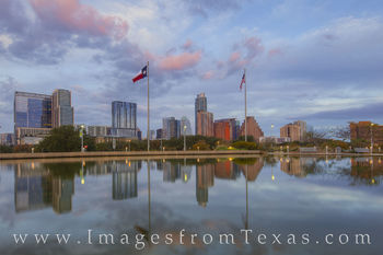 austin skyline, austin evening, long center, reflection, downtown austin, austin texas, austin images, austonian, austin