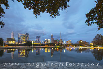 austin skyline, austin evening, long center, reflection, downtown austin, austin texas, austin images, austonian, austin images