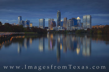 austin skyline, ladybird lake, boardwalk, panorama, austonian, jenga, frost tower, evening, fall, autumn, night, november