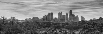 Austin Skyline Pano in Black and White 3