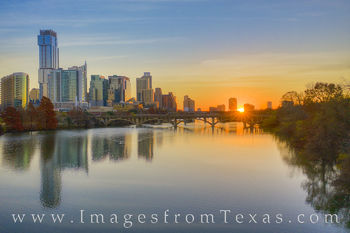 town lake, ladybird lake, austin skyline, austin highrise, downtown austin, sunrise, jenga tower, austonian, morning, zilker park, december, fall, autumn quiet
