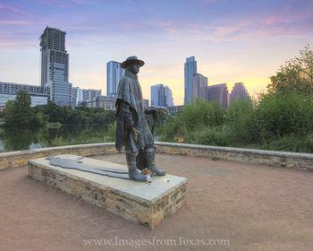 Austin Skyline and the SRV Statue at Sun