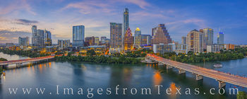 austin skyline, austin, downtown, ladybird lake, congress bridge, first street bridge, austonian, frost tower, independent, jenga, summer, sunset, evening, hyatt