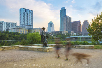 austin texas, austin sunrise, austin skyline, austin texas photos, SRV statue, Stevie Ray Vaughan Statue
