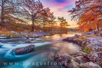 pedernales river, fall, autumn, sunrise, water, november, cold, orange, state park