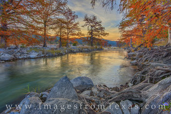 pedernales river, pedernales, fall, autumn, november, morning, sunrise, wildflower, cypress, hill country, solitude