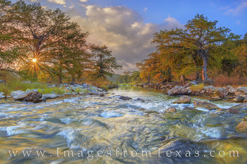 texas hill country, pedernales, pedernales river, pedernales falls, panorama, sunrise, texas landscapes, texas panoramas