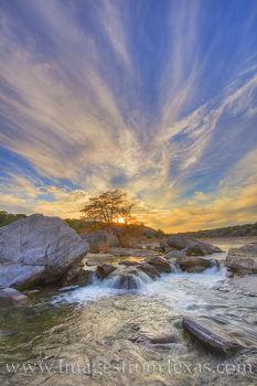 pedernales falls, autumn color, autumn, cypress, hill country, waterfal, pedernales river, sunset, evening, orange, solitude