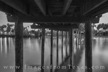 brownsville, bridge, resaca, water, sunset, wooden bridge, pillars