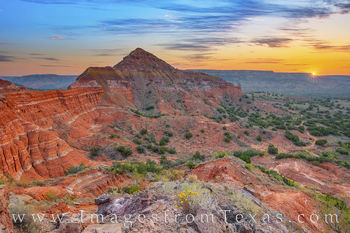 capitol peak, sunrise, palo duro canyon, palo duro prints, west texas, hiking, broom weed, solitude, texas state parks
