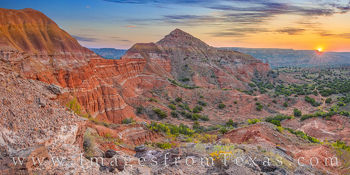 capitol peak, panorama, sunrise, broom weed, hiking, off-trail, palo duro canyon, palo duro prints, west texas